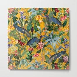 Vintage & Shabby Chic - Sunny Tropical Garden Blue Heron Metal Print
