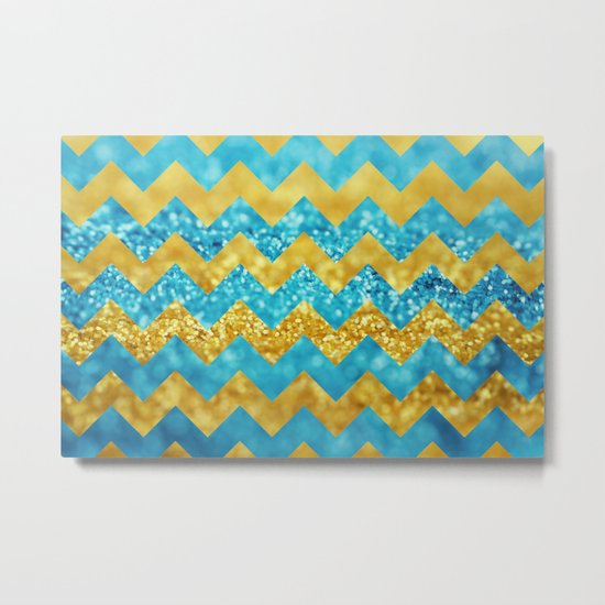 Blueberry Twist Chevron Metal Print