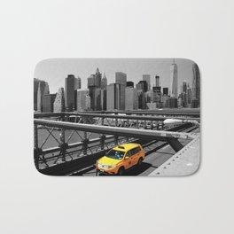Yellow cab on Brooklyn Bridge, Manhattan, New York, USA. Bath Mat