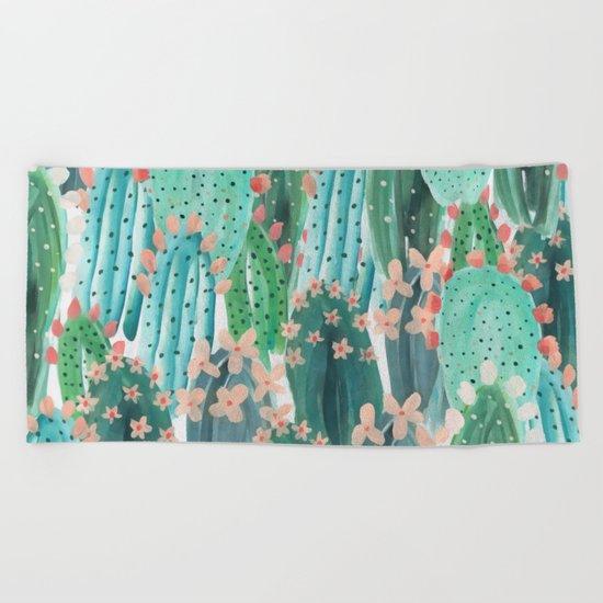 Colorful watercolor cacti Beach Towel