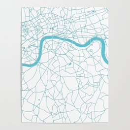 London White on Turquoise Street Map Poster