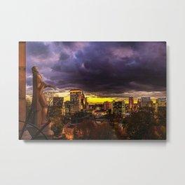 Prospect Terrace, Providence, Rhode Island City Lights Landscape Painting by Jeanpaul Ferro Metal Print