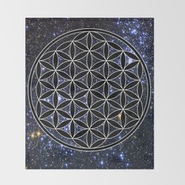 Flower of life in the space Throw Blanket