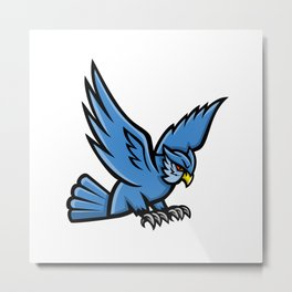 Horned Owl Swooping Mascot Metal Print