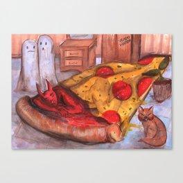 devil in pizza Canvas Print