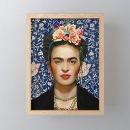Frida Kahlo with Vintage Medway Tapestry Background Framed Mini Art Print