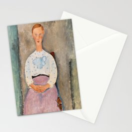 """Amedeo Modigliani """"Girl with a Polka-Dot Blouse (Jeune fille au corsage à pois)"""" Stationery Cards"""