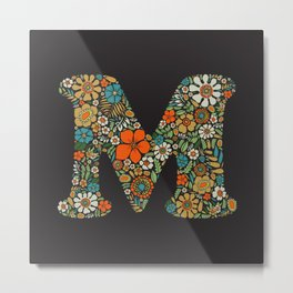 Hippie Floral Letter M Metal Print