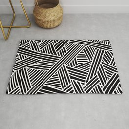 Abstract black & white Lines and Triangles Pattern - Mix and Match with Simplicity of Life Rug