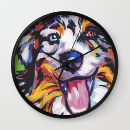 Fun AUSTRALIAN SHEPARD Dog bright colorful Pop Art Wall Clock