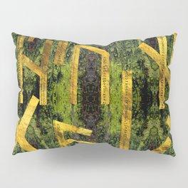 Vintage Gold Runic alphabet on tree bark Pillow Sham