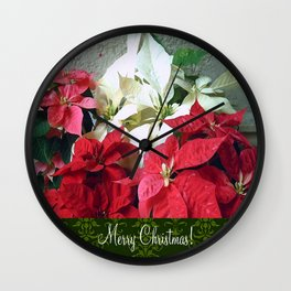 Mixed color Poinsettias 3 Merry Christmas S6F1 Wall Clock