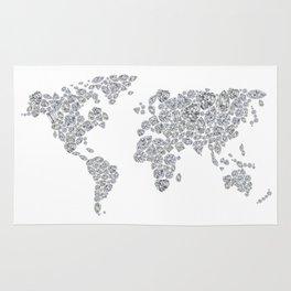 Diamonds World Map Rug