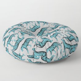 Tigers (Gray and Blue) Floor Pillow