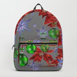 RED POINSETTIA GREEN ORNAMENTS HOLIDAY SNOWFLAKE ART Backpack