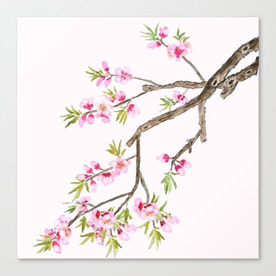 pink peach flowers Canvas Print