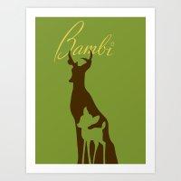bambi Art Prints featuring Bambi by Citron Vert