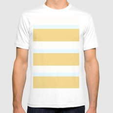 Strips - white, blue and beige. White MEDIUM Mens Fitted Tee