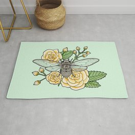 Cicada with Roses - Mint Rug