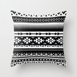 Aztec Pattern Black and White Throw Pillow