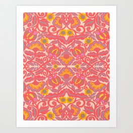 Pink Vines and Folk Art Flowers Patterns Art Print