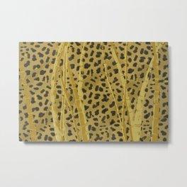 Leopard in Bamboo Metal Print
