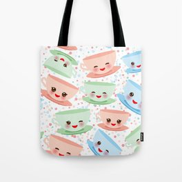 Cute blue pink green Kawai cup, coffee tea with pink cheeks and winking eyes, polka dot background Tote Bag