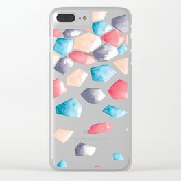 Watercolor Crystals | Blue, Grey and Peach Clear iPhone Case