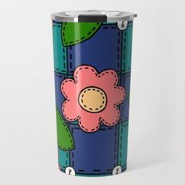 Retro Doodle Flower Style Quilt - Dark Blue and Green Travel Mug