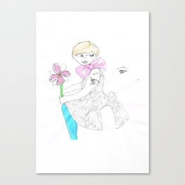 Girl with big bow Canvas Print