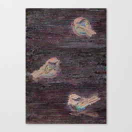 Weathered Chickadees Canvas Print