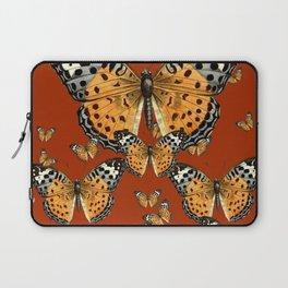 DECORATIVE BROWN COLOR ART & FLYING  BUTTERFLIES Laptop Sleeve