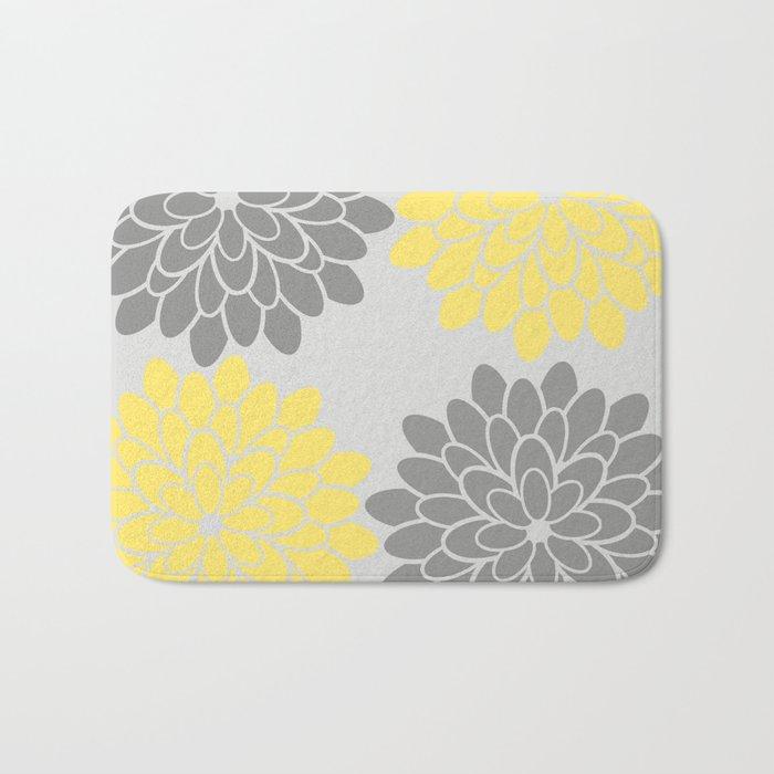 Big Grey and Yellow Flowers Bath Mat