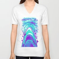 jaws V-neck T-shirts featuring Jaws by Retkikosmos