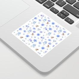 Elegant lavender brown watercolor honey bee floral Sticker