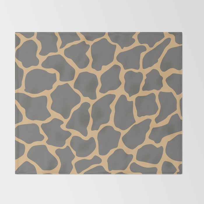 Safari Giraffe Print - Gray & Beige Throw Blanket