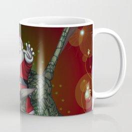 Funny Santa Claus flying with a dragon Coffee Mug