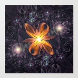 Beautiful Orange Star Lily Fractal Flower at Night Canvas Print