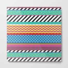 Colorful Washi Tape Graphic Metal Print