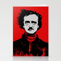 edgar allen poe Stationery Cards featuring POE by Eric Thorpe-Moscon Designs