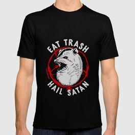 Eat Trash Hail Satan Occult Pentagram Possum design T-shirt