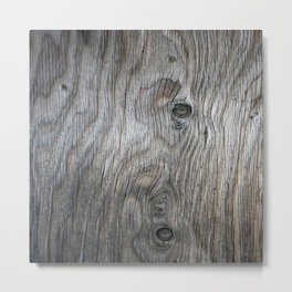 Real Aged Silver Wood Metal Print