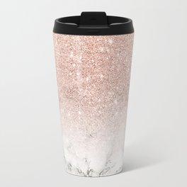Modern faux rose pink glitter ombre white marble Travel Mug