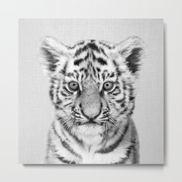 Baby Tiger - Black & White Metal Print
