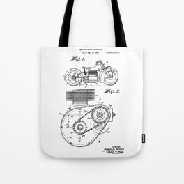 Motorcycle Patent Art Tote Bag