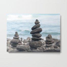 Chorten Rocks on Beach Metal Print