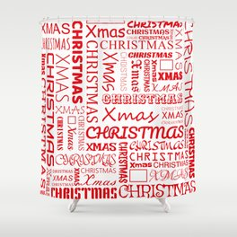 Christmas Typography Shower Curtain