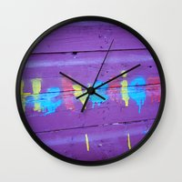 helvetica Wall Clocks featuring Helvetica Graffiti by Kelsey Horne Photographs