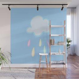 Pastel Rainbow Rain Cloud Wall Mural