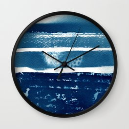 Fragments of the Past (21), art print, collage, blue print, cyanotype print, wall art, wall decor Wall Clock